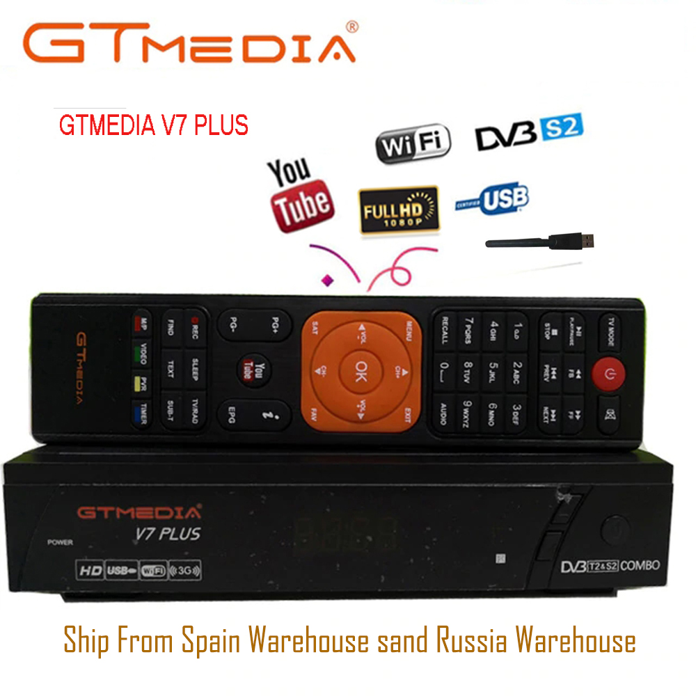 GTMEDIA V7 PLUS with free Cccam 5Clines for 1 year Spain Europe DVB T2 DVB S2 Receptor H.265 Satellite Receiver vs Freesat V7 V8-in Satellite TV Receiver from Consumer Electronics