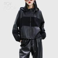 Korean style genuine leather real lambskin spliced detachable hooded oversized coat jacket casaco feminino ropa LT2505 FREE SHIP