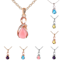 Rhinestone Waterdrop Opal Drop Pendant Chain Necklace Women Fashion Jewelry