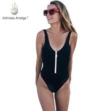 цена на NAVSEGDA 2019 One Piece Swimsuit Front Zipper Women Swimwear Solid Monokini Bodysuit Beach Wear Black Summer Beachwear