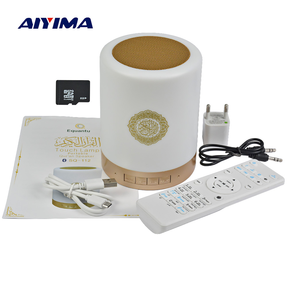 AIYIMA Wireless Remote Control Bluetooth Portable Speaker SQ112 Quran Speakers MP3 FM Radio Touch LED With 25 Languages digital quran lamp with azan clock colorful led light quran player fm radio quran free download english italian translator