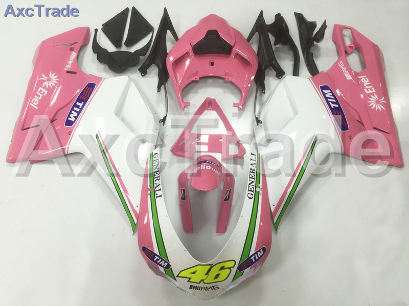 Motorcycle Fairings Kits For Ducati 848 1098 1198 07 - 12 2007 - 2012 ABS Injection Fairing Bodywork Kit White Pink A03 hot sales replacement abs fairings for ducati 1098 848 1198 xerox 2007 2008 2009 2010 2011 abs fairing kits injection molding