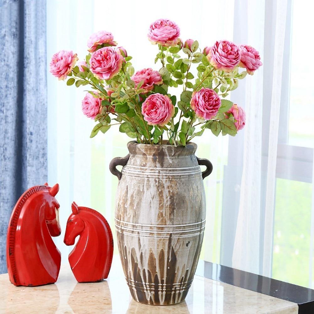 3 Heads Fake Flowers Best Silk Flower Lifelike Brazilian Rose Tea