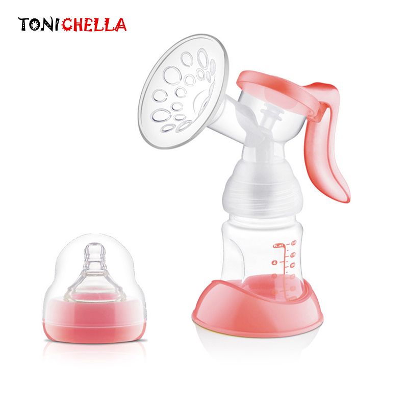 TONICHELLA Manual Breast Feeding Pump BPA Free Baby Powerful Nipple Suction Silicon PP Convenient Breast Milk Pump Bottle T0100