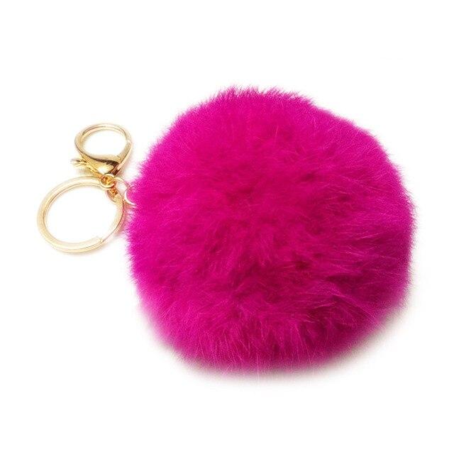 8 CM Genuine rex Rabbit fur bola chaveiro anel chave Do Carro chaveiro Saco Pendente de pele pom fofo