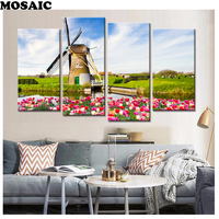 Tulips Windmill diamond mosaic,photo of Rhinestones for Embroidery Full Square Crystal for Diamond Painting natural scenery 4 pp