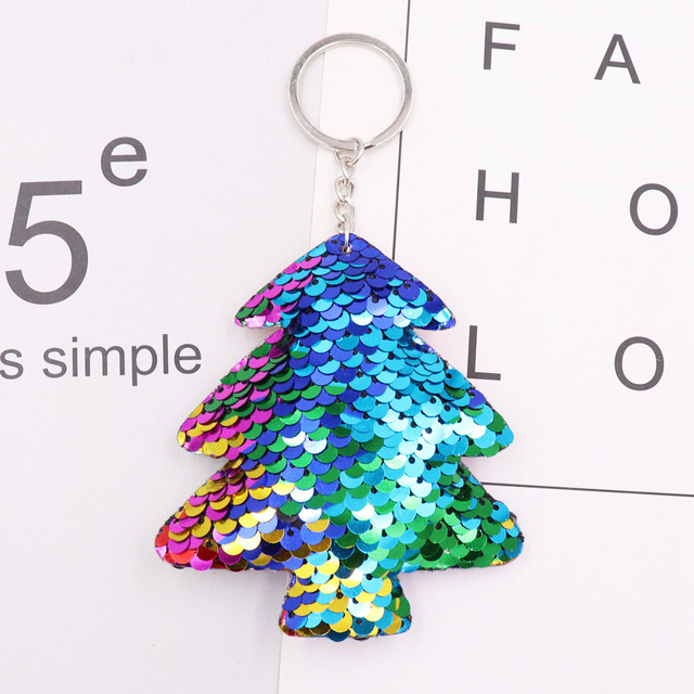 1PCS Dolphin Star Unicorn animal Keychain Glitter Pompom Sequins Key Chain Gifts for Women  Car Bag Accessories Key Ring Jewelry 2