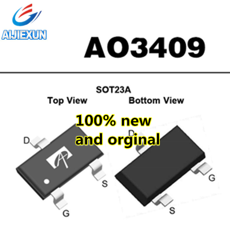 50Pcs 100% New and original SOT-23 <font><b>AO3409</b></font> A03409 A9TV16 MOS in stock image
