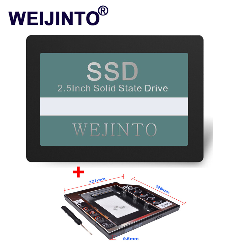 WEIJINTO SSD 120GB 128GB 2.5 Hard Disk Internal Solid State Drive Disc 120GB SSD & 9.5mm SATA 3.0 2nd SSD Caddy for Laptop