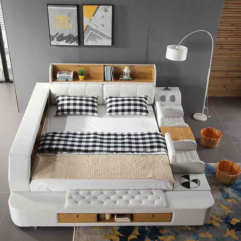Global hot sell intelligent furniture Multi-functional genuine leather smart bed with sofa and baby bed