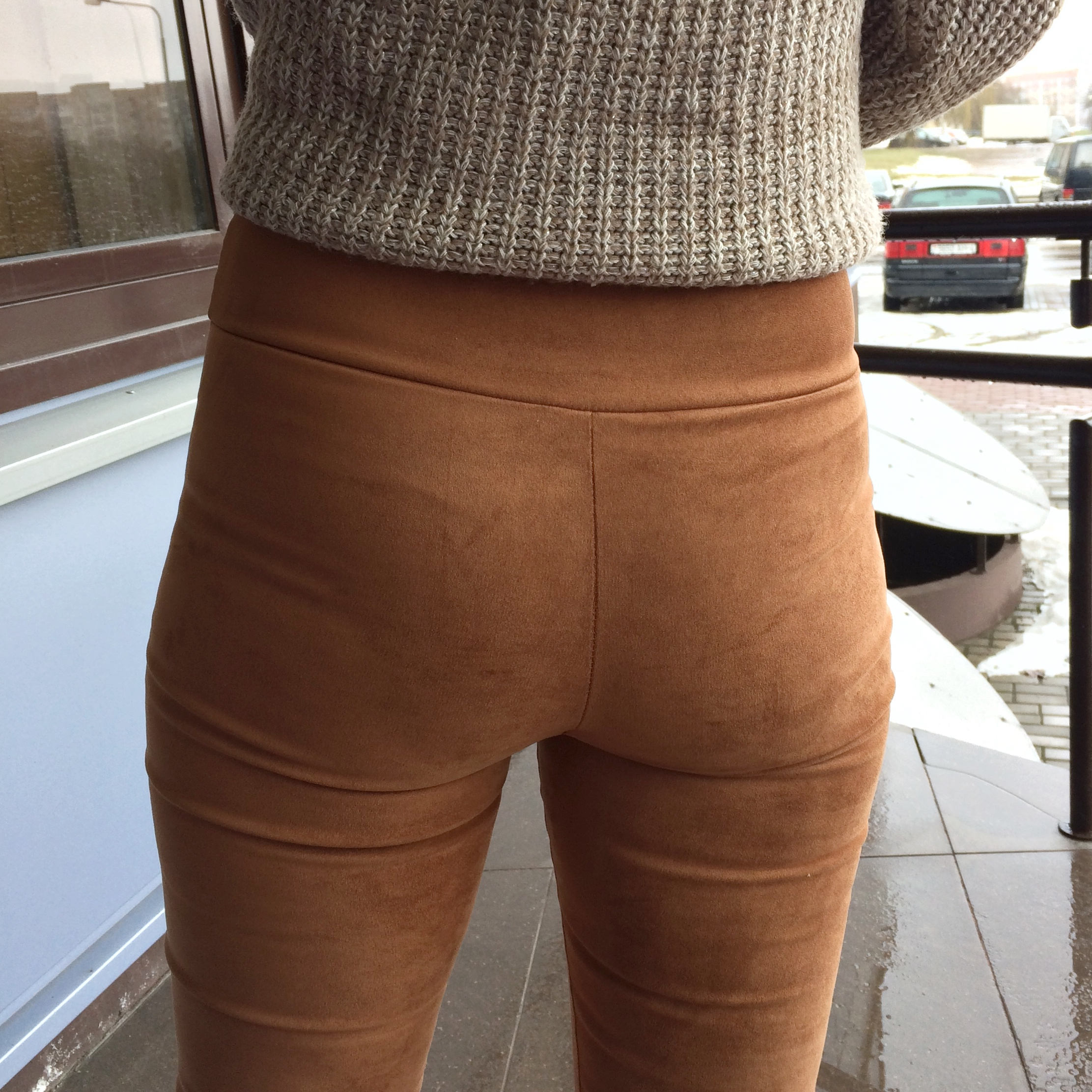 2018 spring autumn suede leather women pants high waist large elastic slim retro leather suede pants for women