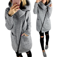 Women Fashion Inclined Zipper Thick Coat Large Turndown Collar Jacket Outerwear