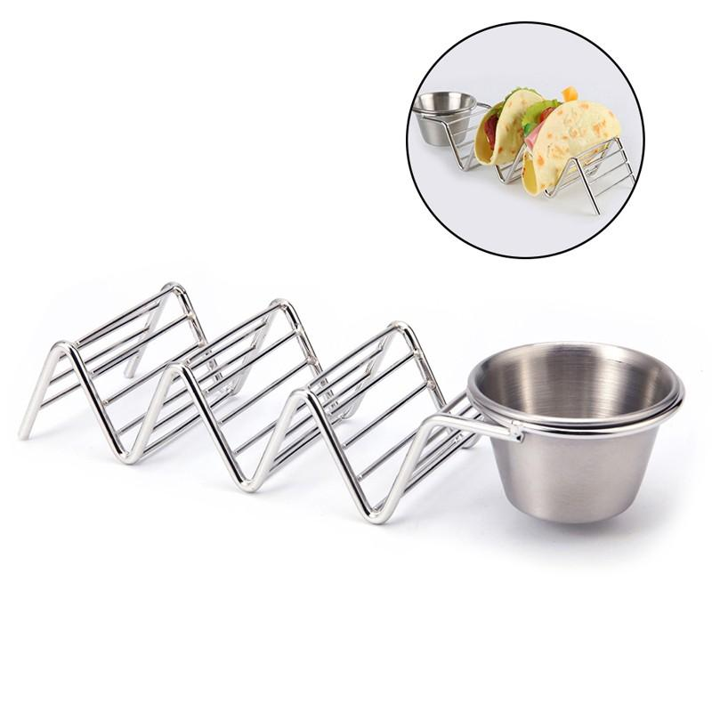 1Pcs Creative Stainless Steel Tacos Holder Stand with Spice Cup Wave Shape for Kitchen supplies Pie Tools Taco Racks image