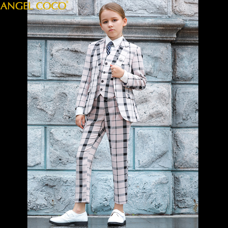 Blazers British Kids School Suit for Girls England Style Boys Formal Wedding Blazer Suit Boys Performance Suit Party Unisex