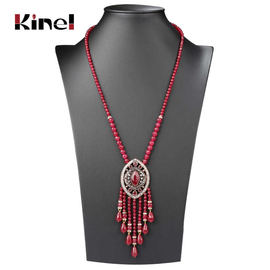 Kinel Vintage Long Tassel Pendant Necklace For Women Antique Gold Color Turkish Red Crystal Sweater Indian Bijoux Luxury Gift