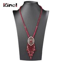 Kinel Vintage Long Tassel Pendant Necklace For Women Antique Gold Color Turkish Red Crystal Sweater Indian