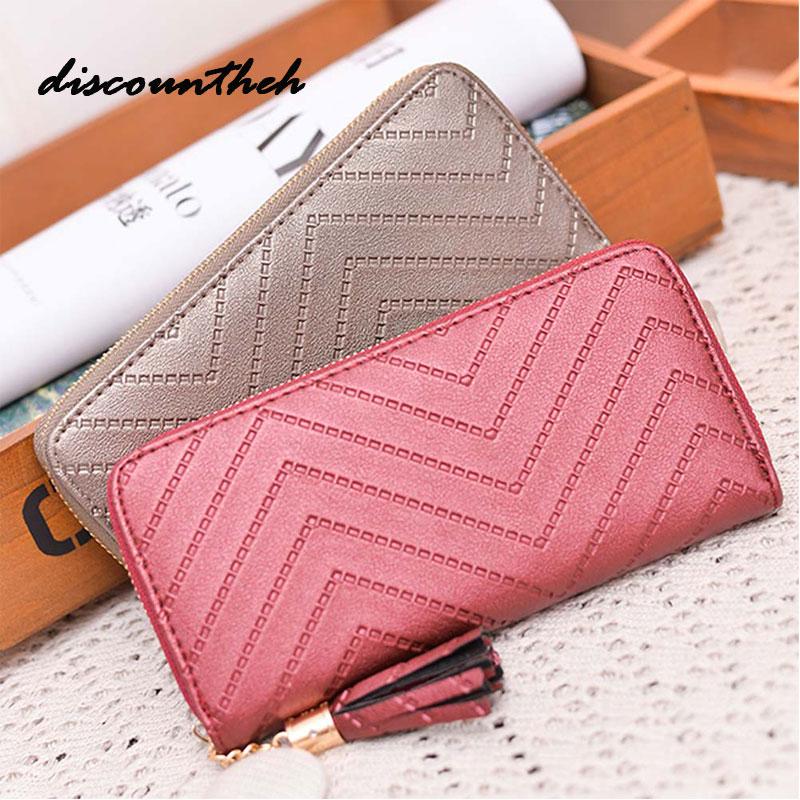2017 Long Luxury Brand Designer Women Wallet Clutch High Quality Leather Tassel Women Purse With Zipper Card Holder