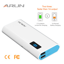 ARUN 10000 mAh Power Bank External Battery 2 USB Genuine  Universal Portable Charger For iPhone 7 6s samsung S8 huawei xiaomi