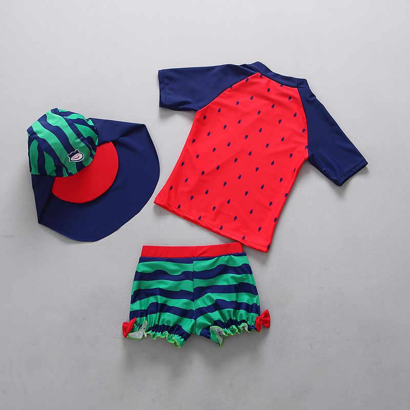 Дети младшего возраста плавательные костюмы для детей Для мальчиков и девочек upf50 + в форме арбуза; сезон лето комплект из двух предметов, купальный костюм с шапочкой для купания, купальный костюм Одежда для купания, костюмы