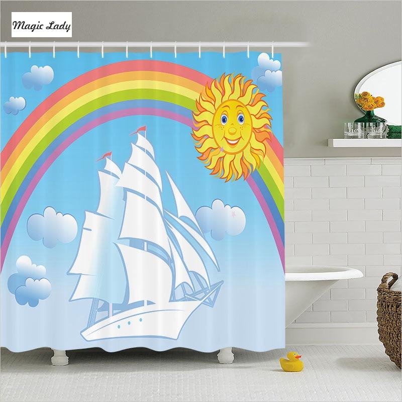 Shower Curtains For Kids Bathroom Sailing Ship Sky Rainbow