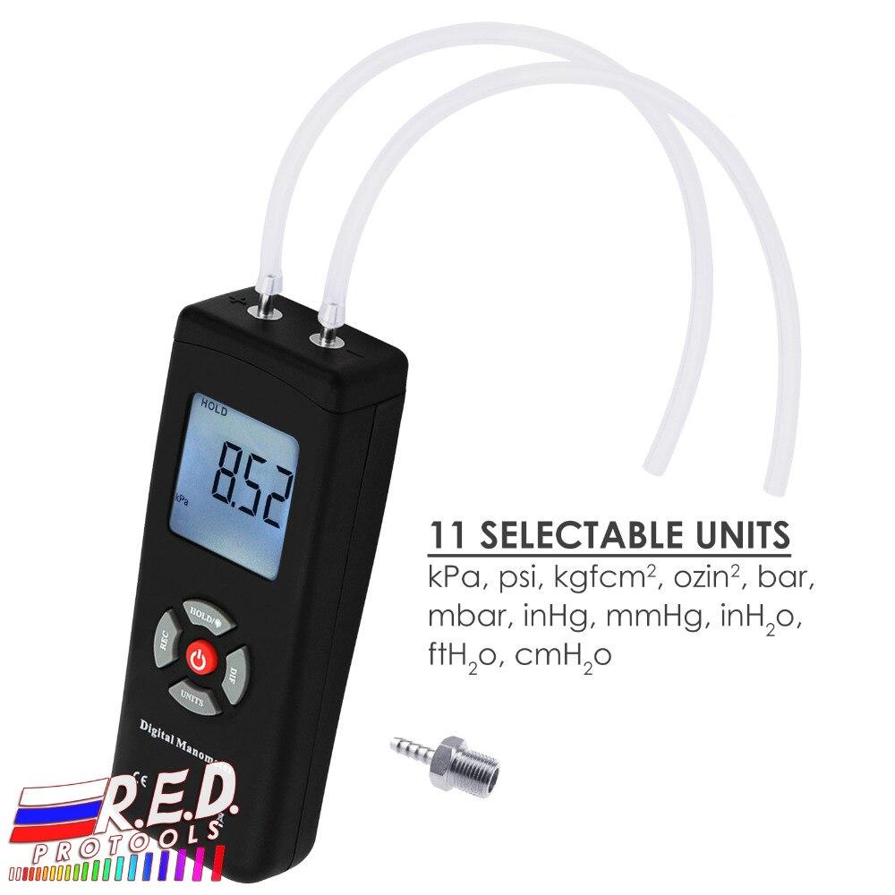 Портативный ручной воздушный вакуумный/газовый манометр Профессиональный цифровой манометр 11 единиц с подсветкой +/-13,78 кПа +/-2PSI