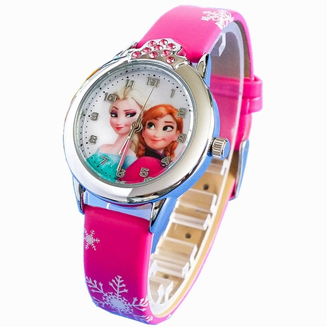 Children Watch Cartoon Princess Elsa For Girls Kids Watches Leather Quartz Child