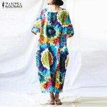 Newest ZANZEA Women Dress 2018 Casual Loose Sexy Vintage Print Dresses Short Sleeves Back Split Cotton Summer Vestidos Plus Size
