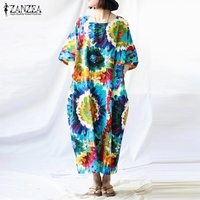 Newest ZANZEA Women Dress 2017 Casual Loose Sexy Vintage Print Dresses Short Sleeves Back Split Cotton