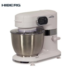 Электрический планетарный миксер HIBERG MP 1260 MTW, 5,5 литров чаша из нержавеющей стали,Облегченный крюк и смесительная лопатка, мощность 1260 Вт, из нержавеющей стали-венчик. Дополнительно- Мясорубка и овощерезка