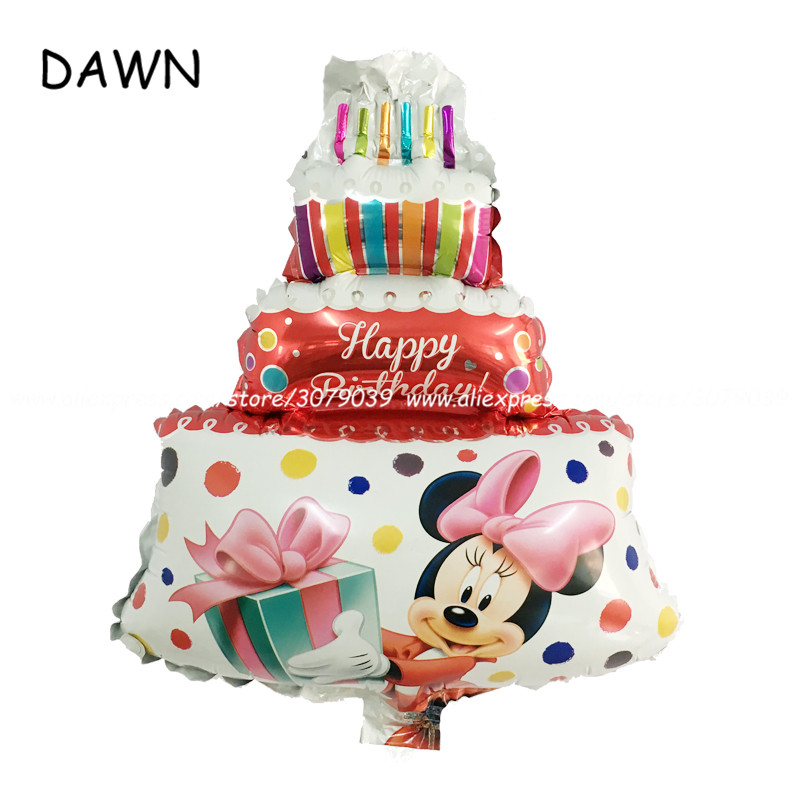 10pcs/lot Mini Mickey Minnie Cake Shape Foil Balloons Baby Shower Birthday Party Decor Supplies Globos Childrens Cake Toys Ball Refreshing And Enriching The Saliva Event & Party