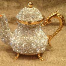 Swarovski decorated stones , copper tea pots high value Hand made luxury gold