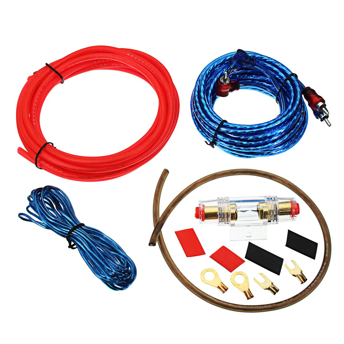 Dq New Car Auto Audio Speakers Wiring Kits 4ga Power Cable Amplifier Automobile Radio Cable1500w 8ga Subwoofer Amp Fuse Holder Wire Kit