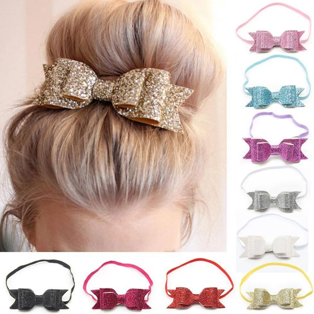 Fashion Cute Kid Baby Girls Glitter Big Bow Knot Elastic Hair Band Headwear Headband