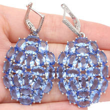 SheType Top Long Big Heavy 15.23g Violet Tanzanite Gift For Sister Real 925 Solid Sterling Silver Earrings 51x26mm