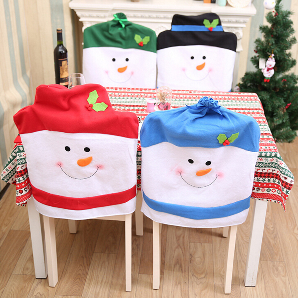 Christmas chair covers - Christmas Chair Covers Cute Snowman Chair Back Covers Christmas Party Table Christmas Gift Dinner Decor