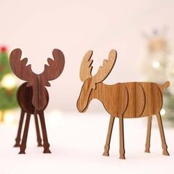 Christmas Elk Ornaments Assembled Wooden Reindeer Decoration Vintage Christmas Decoration for Home Natal Decor Supplies 5