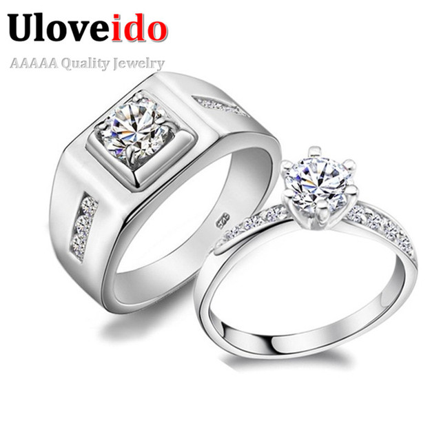 uloveido couple wedding rings for men and women fashion silver color cubic zircon big male engagement - Couple Wedding Rings