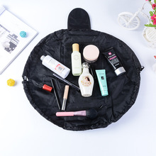hot deal buy lazy lady drawstring cosmetic storage bag korean polyester pure color design makeup organizer pouch bags sanitary napkins cases