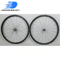 Tubeless ready Straight Pull 700c 30mm x 23mm Carbon Clincher Road Bicycle Wheels Bike Wheelset, Powerway R36 hubs UD 3K Twill