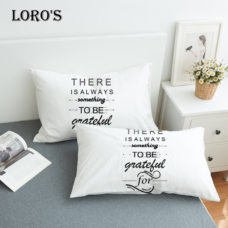 Romantic Grateful <font><b>Pillow</b></font> <font><b>Case</b></font> White Couple Lovers Gift <font><b>Pillow</b></font> Throw Pillowcases Home Beddroom Two Pair <font><b>Pillows</b></font> Bedding Set image