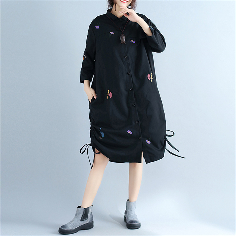 Spring 2018 New Plus Size Women Embroidery Windbreaker Casual Three Quarter Sleeve Loose Long Shirt Trench Coat Femme z703