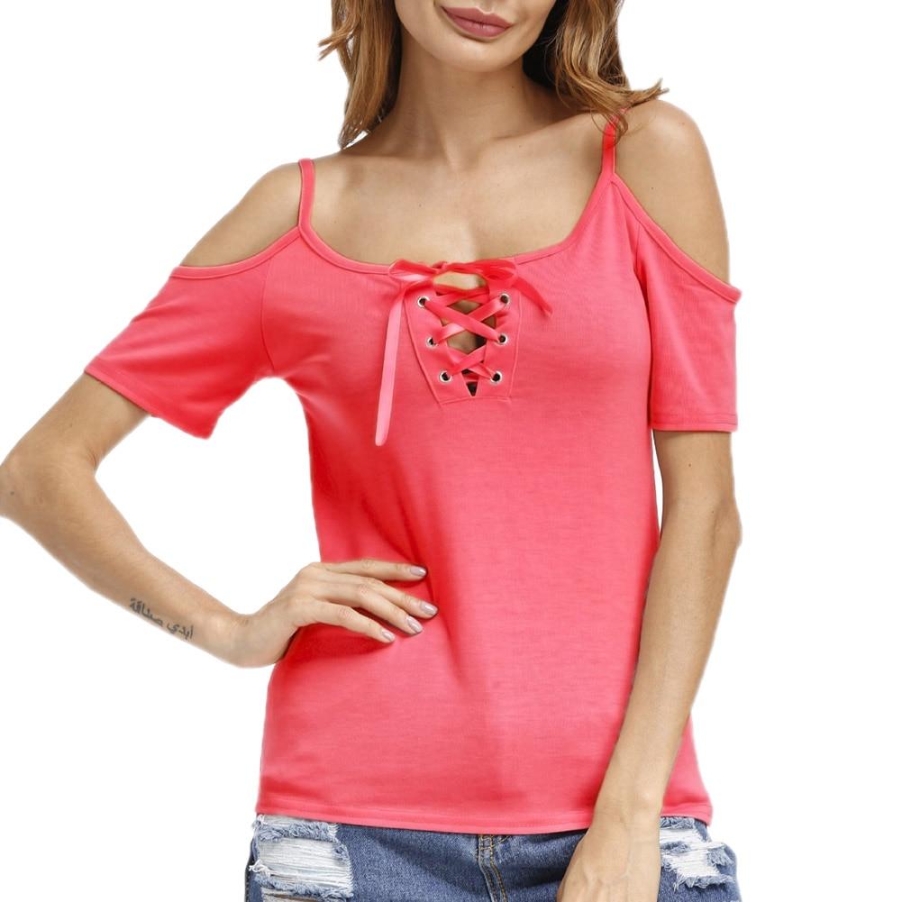 Funny Fairy World Summer Women Solid V-collar Hollow Bandage T-shirts Off Shoulder Strap Short Sleeves Shirts Tops