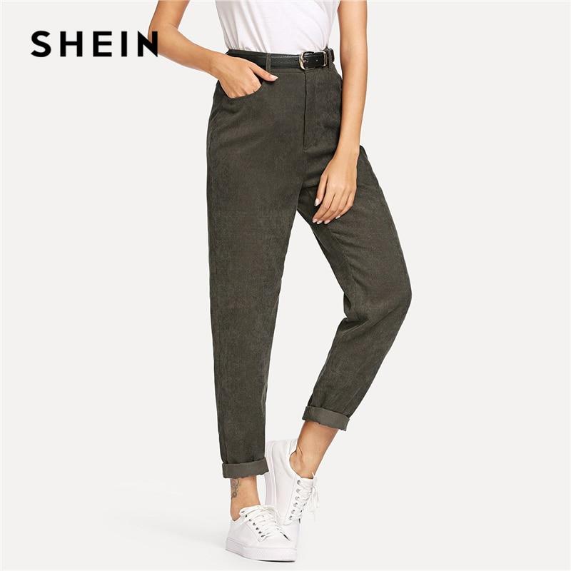 SHEIN Grün Moderne Dame Elegante Tasche Verjüngt Karotte Hosen Mid Taille Arbeitskleidung Hosen 2018 Herbst Casual Frauen Hosen