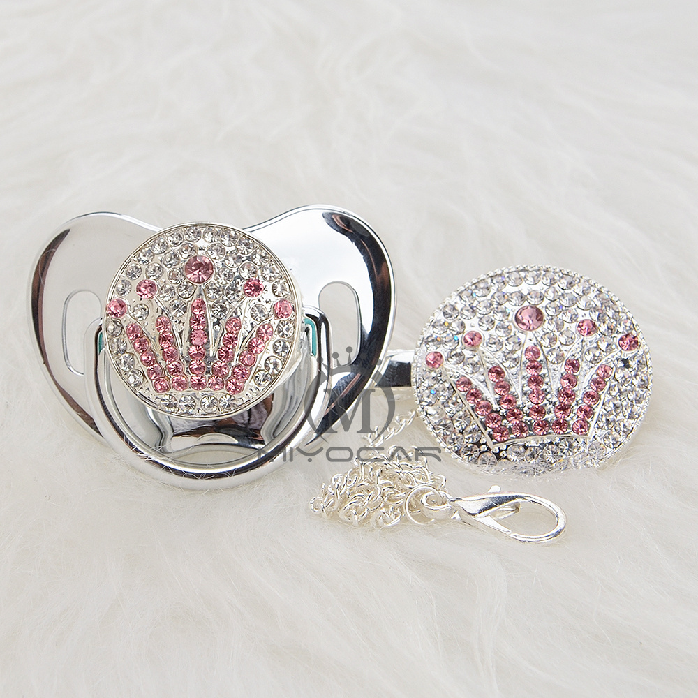 MIYOCAR Bling Unique Design Silver Pink Crown Pacifier And Clip Set BPA Free Sgs Pass Safe To Baby Pacifier Holder APCG-9-1