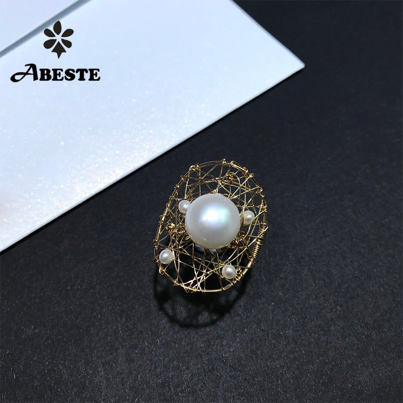 ANI 14K Roll Gold Handmade Women Ring Natural Freshwater White Pearl oorbellen Roll Gold bague fine Engagement Jewelry Custom ani 14k roll gold handmade women bracelet freshwater white pearl oorbellen roll gold boucle d oreille design fine jewelry