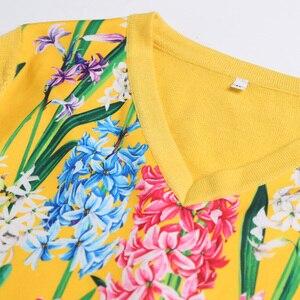 Image 5 - 2019 свитер женски de moda de la manga larga de las mujeres de cuello en V moda suéter 2XL amarillo flor prenda de punto impresa de lana de alta calidad