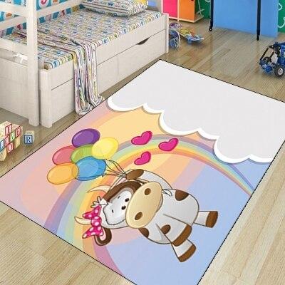 Else Funny Cow Balloon Rainbow Cloud Animal Modern 3d Print Non Slip Microfiber Children Kids Room Decorative Area Rug Mat
