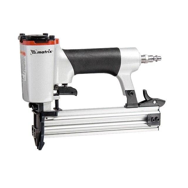Нейлер пневматический MATRIX 57410 (Емкость магазина инструмента рассчитана на 100 паркетных гвоздей размера 18. варианты крепежа 10, 15, 20, 25, 30, 32, 40, 45, 50 мм)