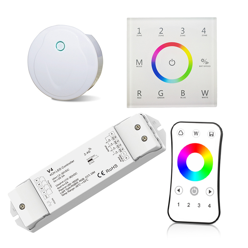 Led RGBW Strip Controller 2.4GHz RF 220V Wall Panel 5A*4CH V4 Receiver R8 4 Zone Wireless Remote Wifi RGBW Led Strip Controller