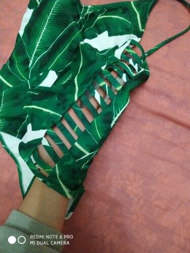 2019 Sexy One Piece Swimsuit Women Swimwear Green Leaf Bodysuit Bandage Cut Out Summer Beach Bathing Suit Swim Monokini Swimsuit